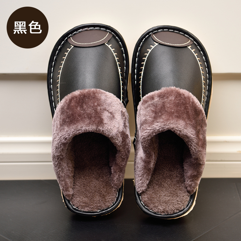 New Fashion Indoor Winter Warm Leather Men's Slippers Black Footwear Male Casual Shoes Non-slip Men Flats Sandals Closed Toe