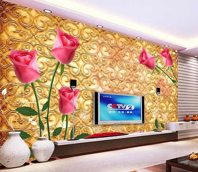 Custom roses wallpaper red, rose murals for the living room bedroom TV background wall waterproof embossed wallpaper 3d stereoscopic large mural custom wallpaper the living room backdrop bedroom fabric wall paper murals fashion romantic roses