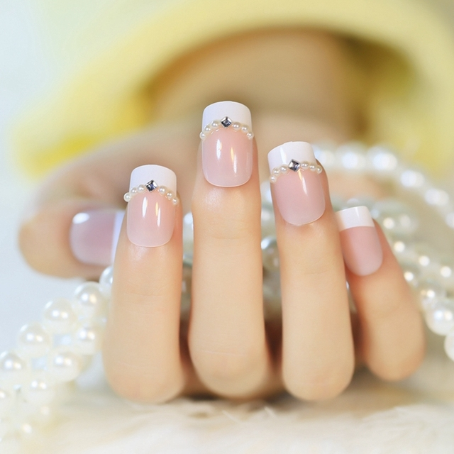 24pcs Acrylic White French Nail Tips Nature Color Pearl Rhombic Crystals Diamond Type Fake
