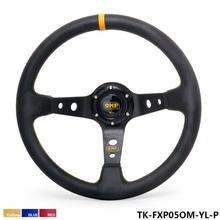 350MM PVC Racing Aluminum Frame Light Weight 6-Hole Steering Wheel Modified Jdm Sport (Yellow Red Blue)TK-FXP05OM-P(China)