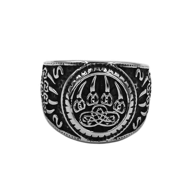 Wholesale Vikings Norse Amulet Bear Paw Ring Stainless Steel Jewelry Celtic Knot Charms Claws Motor Biker Mens Ring 889B