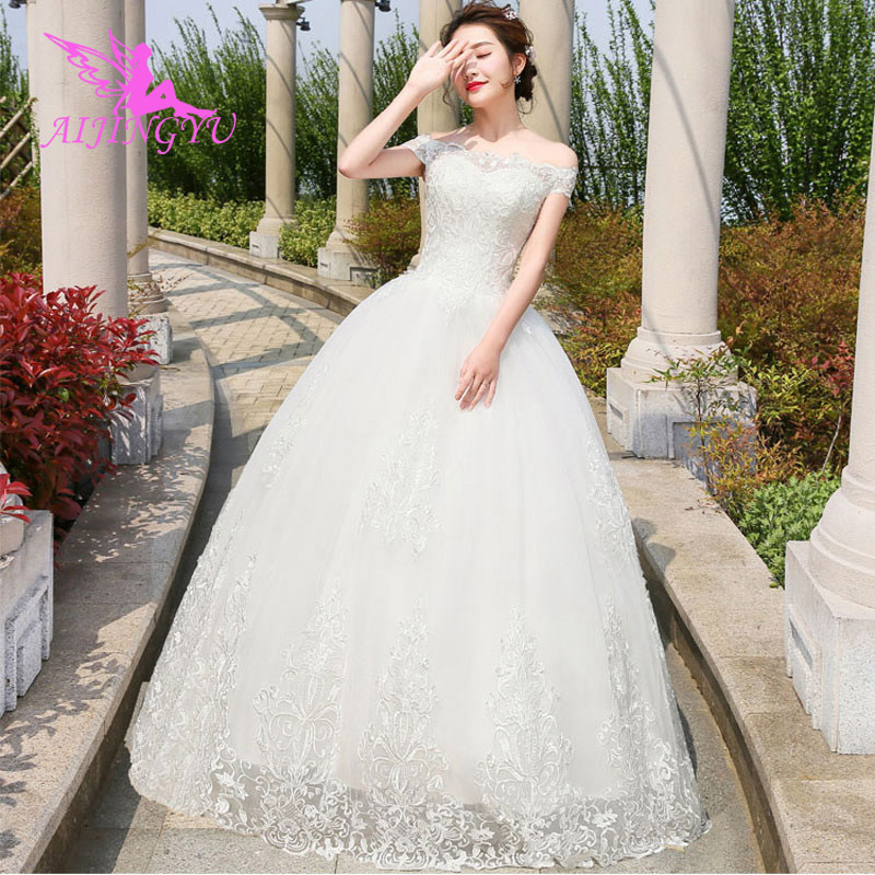 AIJINGYU 2018 Custom Made Free Shipping New Hot Selling Cheap Ball Gown Lace Up Back Formal Bride Dresses Wedding Dress WU244