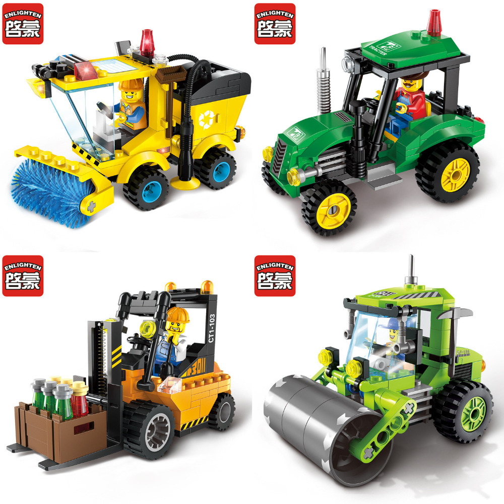 ENLIGHTEN Building Blocks City Construction Road Roller Forklift Truck Tractor Sweeper Truck Building Block Kids Playmobil Toys