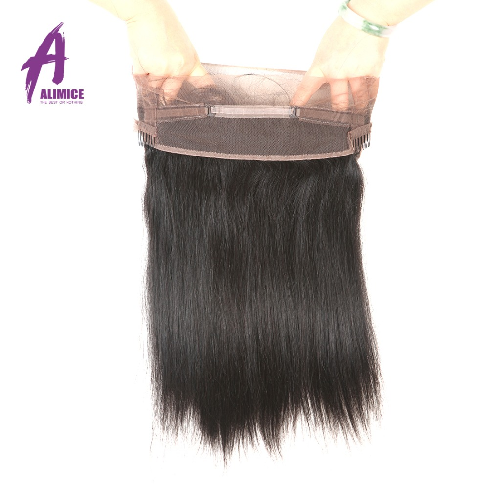 Alimice 360 Lace Frontal Closure Indian Straight Hair 360 Frontal Closure With Baby Hair Remy 100