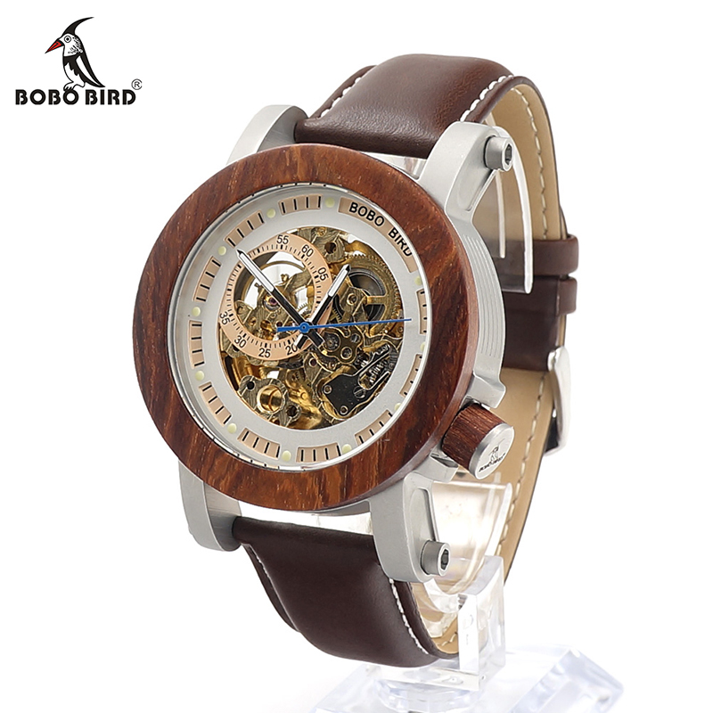 BOBO BIRD V-K12 Red Sandalwoo Bezel Mechanical Wristwatches Stainless Steel Case Skeleton Automatic Watch for Men in Gift Box