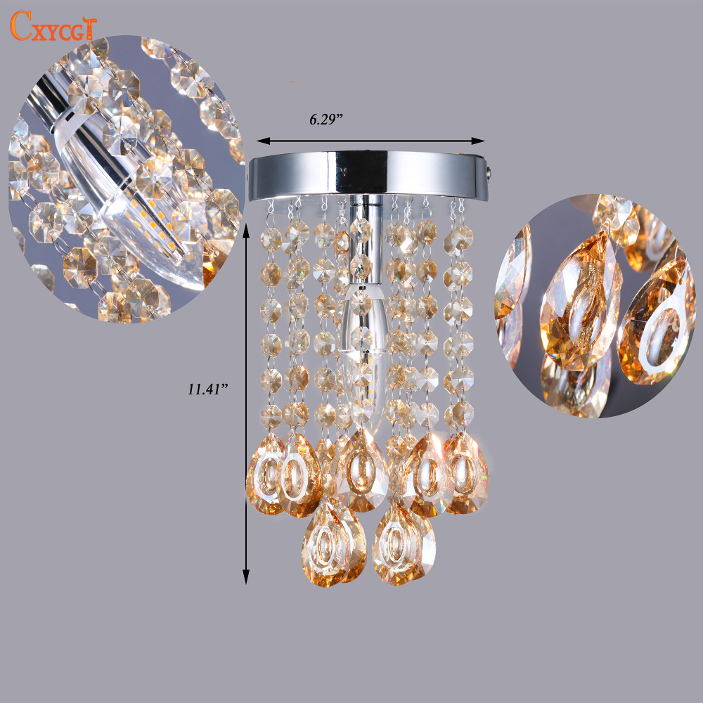 Us 25 93 35 offluxury mini small crystal chandelier lighting fixture with champagne teardrop crystals for living room closet bathroom bedroom in