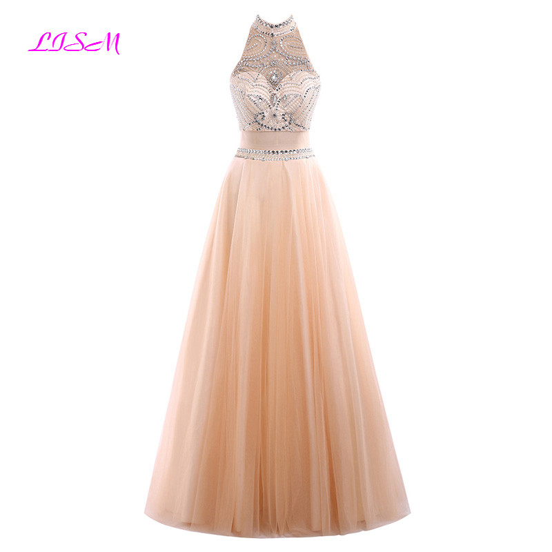 Crystals Beaded Two Pieces Long Prom Dresses Illusion Tulle Vestido De Gala High Neck Sleeveless Evening Dress Robe De Soiree
