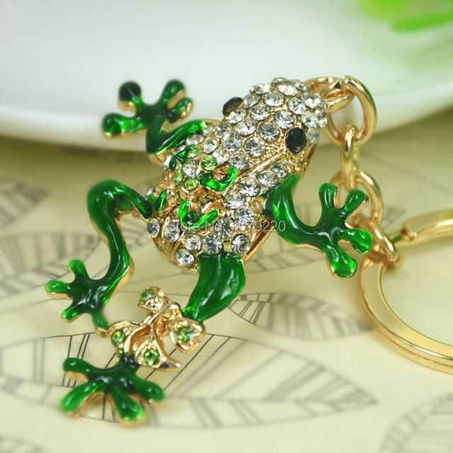 T Frog Car Keyring Cute Rhinestone Crystal Charm Pendant Key Bag Chain Christmas