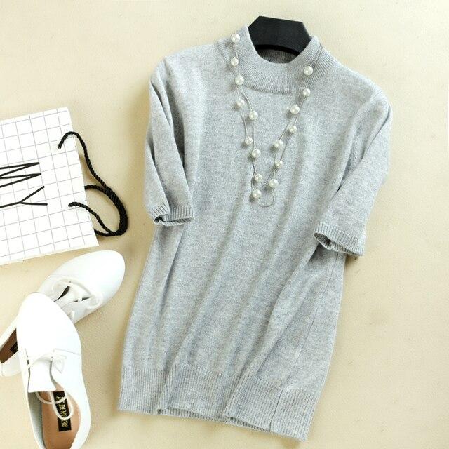 e7d044b1cb Women Cashmere Short Sleeve Sweaters Top Half Turtleneck Slim Pullover Knit  Jumper Black 2018 Ladies Spring Summer Sweater Shirt