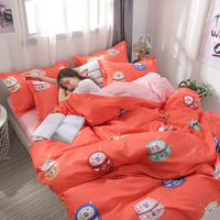 3/4pcs Cartoon Cute Bedding Set AB Side Bedding Set Super King Size Bed Linens Stripe Duvet Cover Flat Bed Sheet Pillowcase