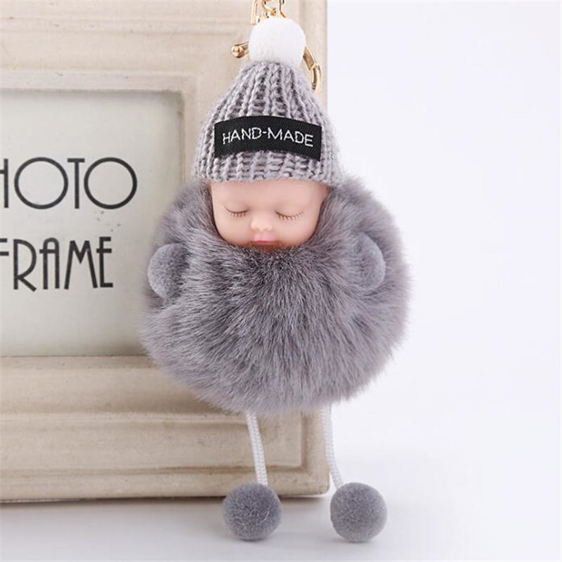 Luxury Artificial Fur Plush hat Doll Baby Keychain Pendant for Car Bag ornaments Cute Plush Key Chain Pendants Jewelry Girls