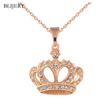 BLIJERY Women Fashion Jewelry Gold Silver Color Crystal Crown Pendant Necklace C