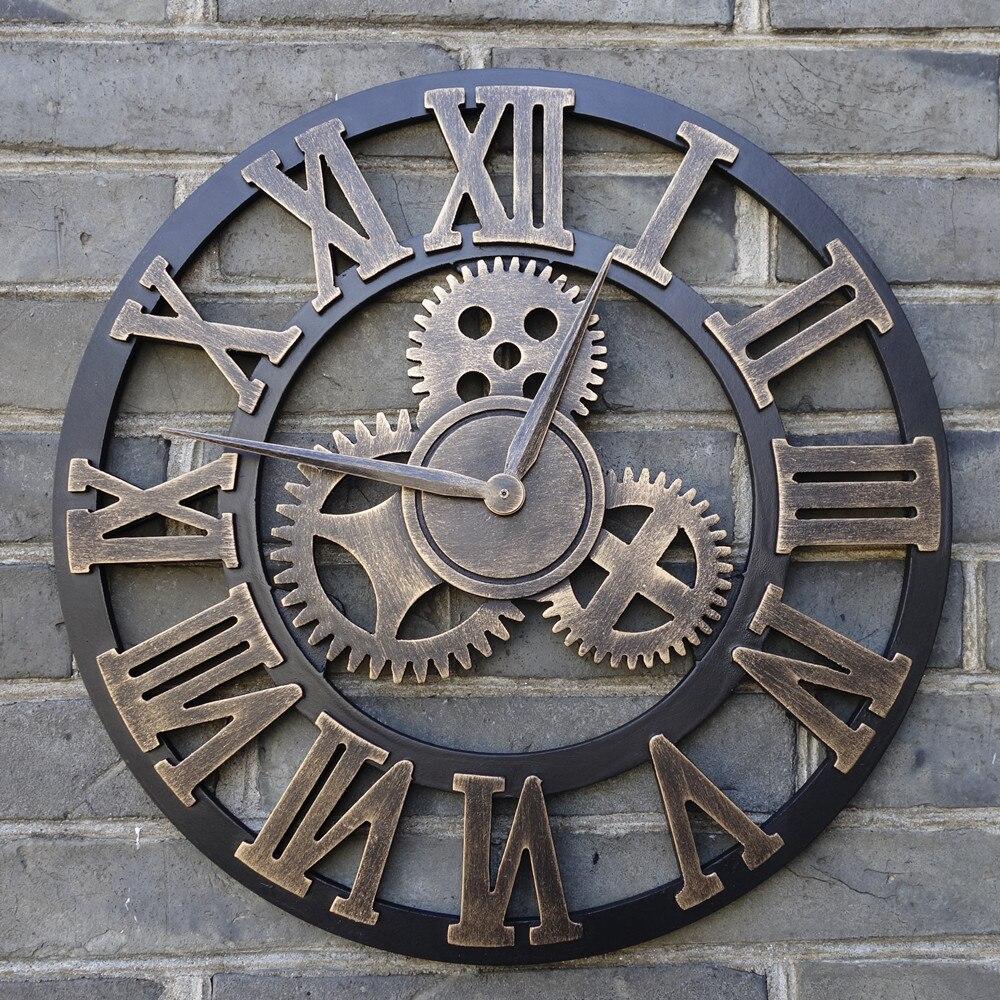 Vraie 3D rétro Art Vintage décorative grande horloge murale en bois sur le mur