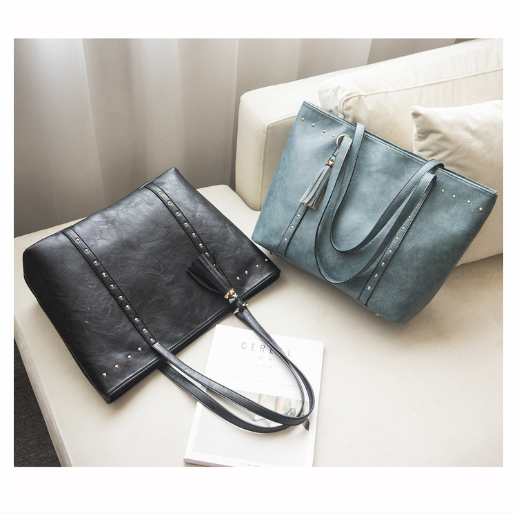 Rivet Leather Women Tote Handbag 30