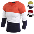 2016 Mens Fashion Design Sweater V-Neck Patchwork 3 Colors Pullovers Casual Fitness Knitwear Freeshipping H9021