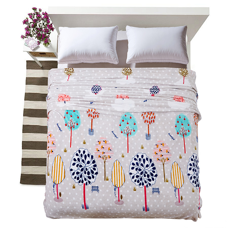 Cozzy Home Texitle Brushed Fleece Blanket Flannel on Bed/<font><b>Sofa</b></font>/Couch Colorful Trees White Polka Dots Twin Full Queen King Size