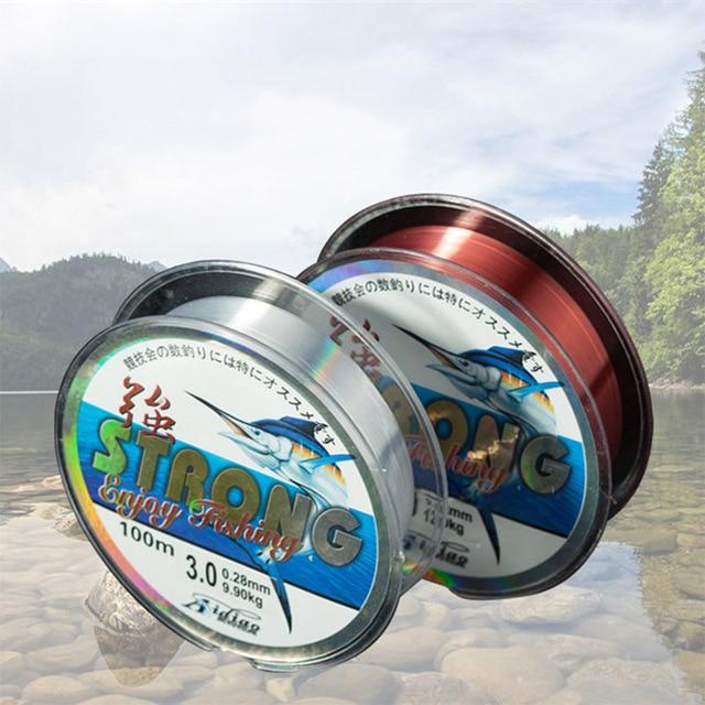 Linea di pesca della carpa di sport allaperto di resistenza allusura della forte forza di trazione del monofilamento di Nylon allingrosso 100m per acqua salata