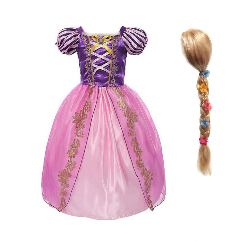 MUABABY Little Girls Princess Rapunzel Dress Up Clothes Children Tangled Fancy Costume Kids Halloween Birthday Party Outfit 2-8T