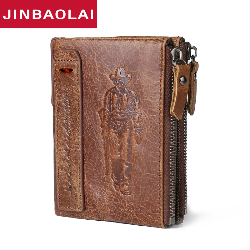 JINBAOLAI HOT Genuine Crazy Horse Cowhide Leather Men Wallet Short Coin Purse Small Vintage Wallet Brand High Quality Designer italian style fashion men s jeans shorts high quality vintage retro designer classical short ripped jeans brand denim shorts men
