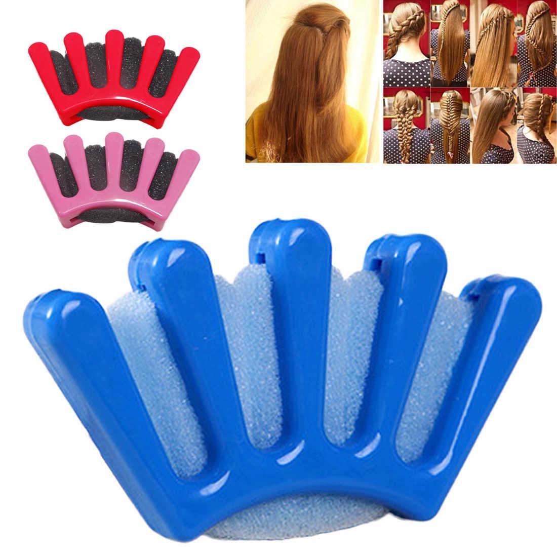 3 cores senhora menina francês cabelo trança ferramenta cinco dedos tecer esponja tranças torção hairstylist trança diy acessório