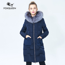 Foxqueen 2016 New Winter Women Fashion Thick Hooded Down Cotton Parka Coat Jacket Silver Fox Fur Plus Size 5XL Free Shipping 603