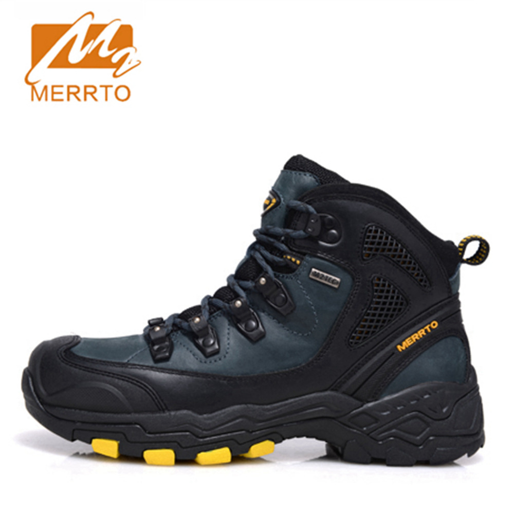 2017 Merrto Mens Hiking Boots Waterproof Outdoors Shoes Trekking Shoes Full-grain leather For Men Free Shipping MT18573 2017 merrto mens hiking boots waterproof breathable outdoor sports shoes color black khaki grey for men free shipping mt18638