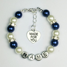New name Personalised Girl baby Birthday Christmas Gift Charm name Bracelet with bag-navy blue