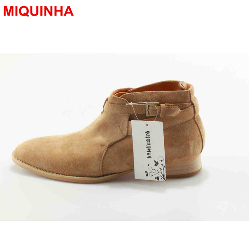 MIQUINHA Pointed Toe Men Ankle Boots Buckle Shoe European Style Short Booties Low Heel Winter Shoe Luxury Brand Star Runway Shoe miquinha round toe women boots mixed color short booties luxury brand women cool runway fashion star high heel boots buckle shoe