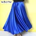 Full circle cetim saia longa saias xxs-7xl azul royal women lady satin maxi saias
