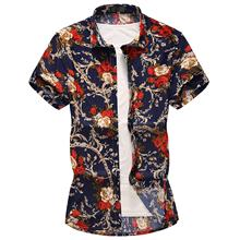 M-6XL 7XL Social Mens Shirts Hip hop Floral Casual Shirt Hawaiian Clothing Loose Flower Summer Clothes