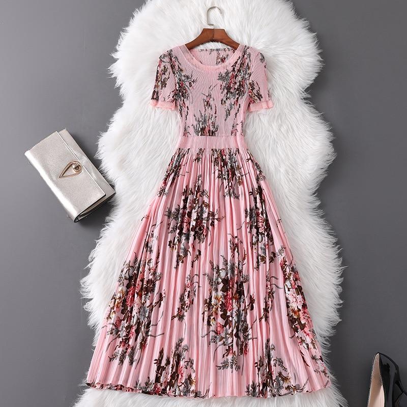 2019 élégant été Designer robe femmes mode vestidos de verano à manches courtes imprimé Floral grande taille rose robes plissées
