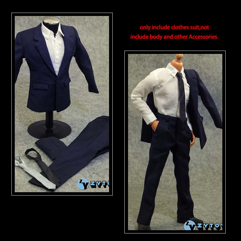 1/6 Scale Male/Man ZY TOYS Blue Office Gentleman Shirt Suit Pants Trousers Clothing Set Business For 12 Inch Hottoys Figure Body