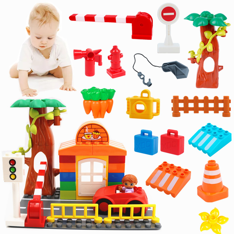 Accessories Building Blocks Big Size Road Cars Police Bike Compatible With L Brand Duploe Parts Toys For Kids Christmas Gifts