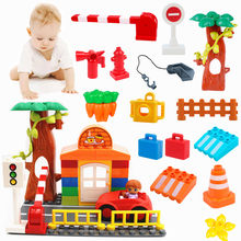 Accessories Building Blocks Big Size Road Cars Police Bike Compatible with L Brand Duploe Parts Toys for Kids Christmas Gifts(China)
