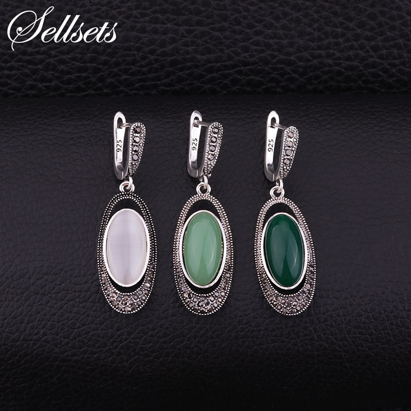 Sellsets Vintage Silver Color Oval Long Earring Pave Black Rhinestone And Resin Opal Dangle Drop Earrings Women Jewelry Gifts цена 2017