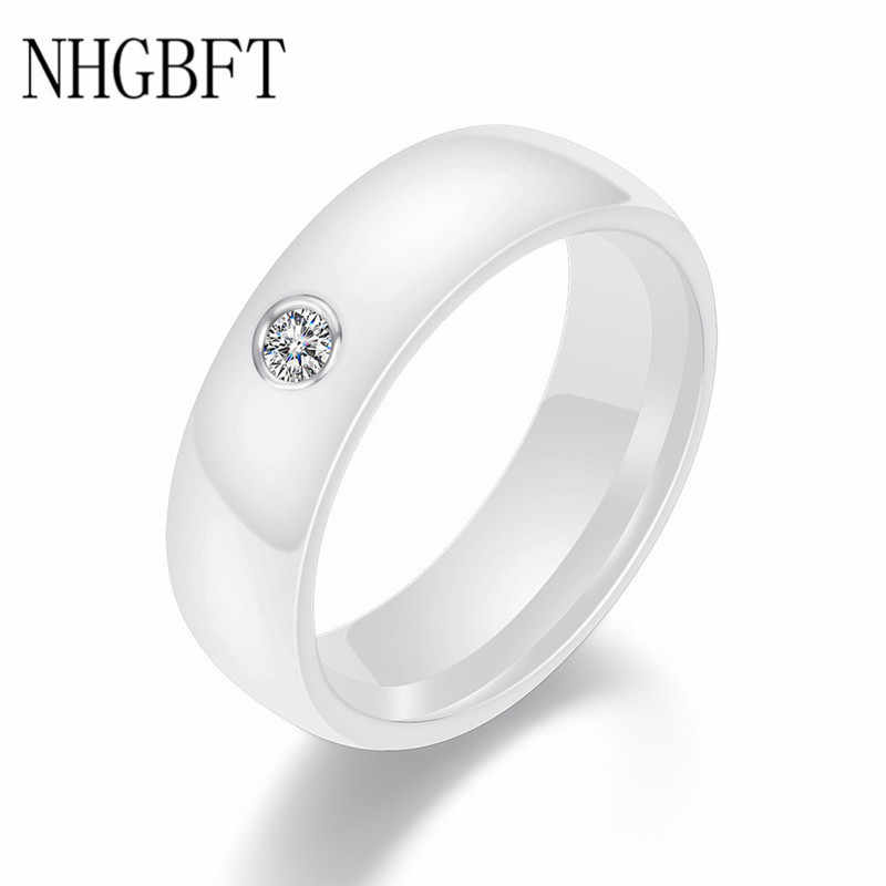 NHGBFT 3mm Wide Smooth white/black Ceramic Rings Wedding party jewelry Women Rings Dropshipping