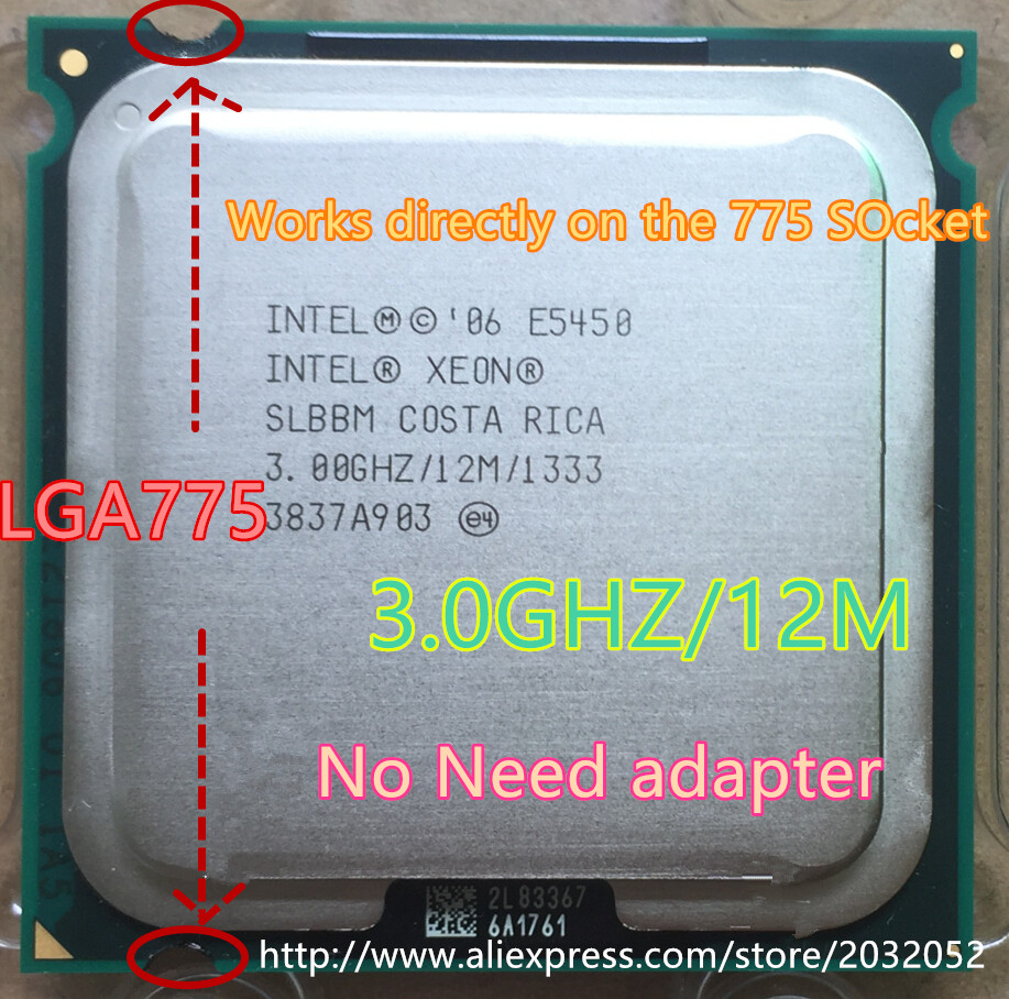 Intel Xeon E5430 quad-core 2.66GHz//12M//1333 with 3 LGA 771 to 775 adapters