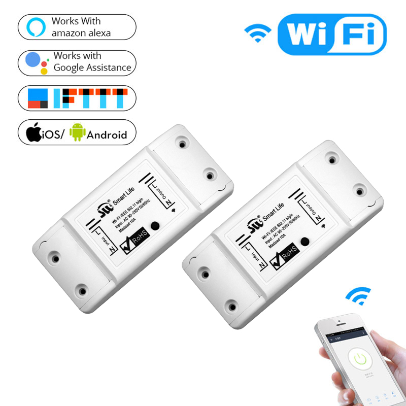 2 Pieces DIY WiFi Smart Light Switch Universal Breaker Timer Wireless Remote Control Works with Alexa Google Home Smart Home 5ps lot sonoff smart wifi switch diy remote control wireless smart switch module 2200v for light smart home works with alexa