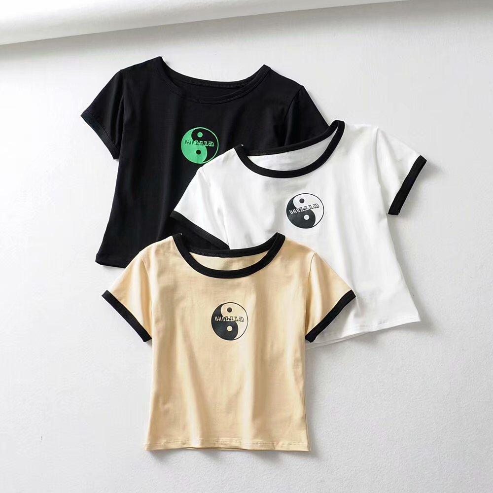 Футболка женская, эластичная, хлопковая, с принтом Тай Чи, с коротким рукавом|Футболки| | АлиЭкспресс
