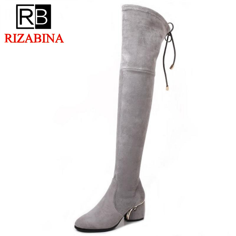 RizaBina Size 34-43 WomenS Winter Real Leather Elastic Boots Women Thick High Heel Zip Back Strap Over Knee Thigh High Botas
