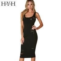 HYH HAOYIHUI Apparel Hollow Out Black Dress Sexy Summer Beach Sleeveless Hole Vestidos De Fiesta Bodycon