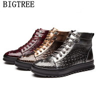 high top sneakers italian shoes men boots genuine leather coiffeur ankle boots men crocodile shoes brand leather boots men bona