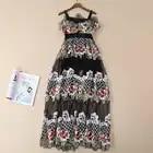 XF 2019 Frühling Und Sommer Modell Designer Böhmischen Frauen Kleid Sling Drucken Lange Mode Mailand Runway Kleid - 6
