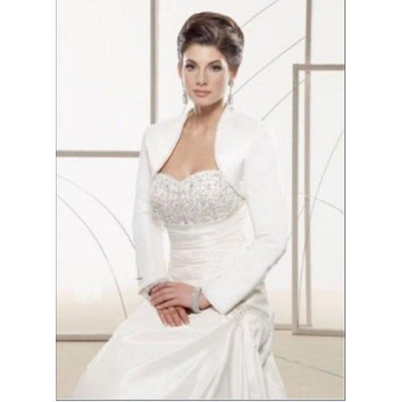 White Satin Bolero Jacket For Wedding Jacket Long Sleeves