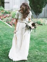 Lace Wedding Dresses 2019 vestido de noiva Short Sleeve Scoop Vintage Garden Retro Bride Sashes robe mariage Bridal Gowns Mariee