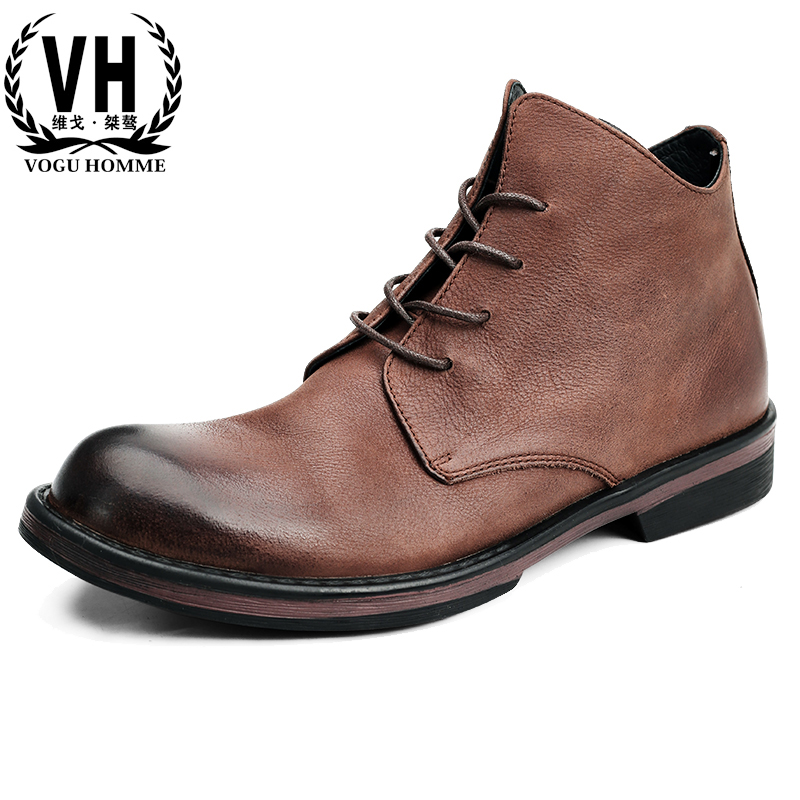 men's Martin boots real leather British youth short boots autumn winter high top casual shoes all-match cowhide Chelsea boots
