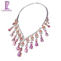 High end Genuine 18K White Gold 120.4Carats Kunzite Diamond Sapphire Y Necklace Natural Gemstone Luxury Jewelry Collection Women