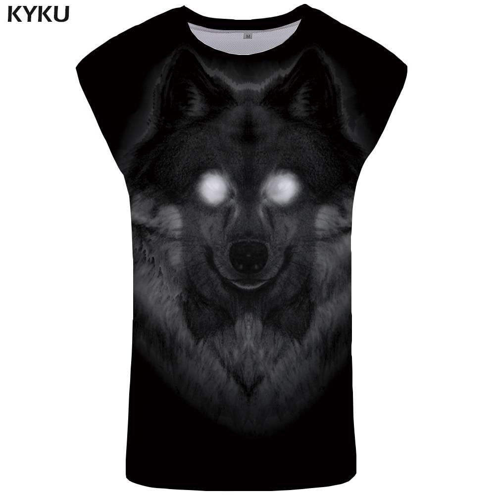 KYKU Wolf   Tank     Top   Men Vintage Undershirt Black Mens Bodybuilding Terror Stringer Animal Ftness Clothing Singlet