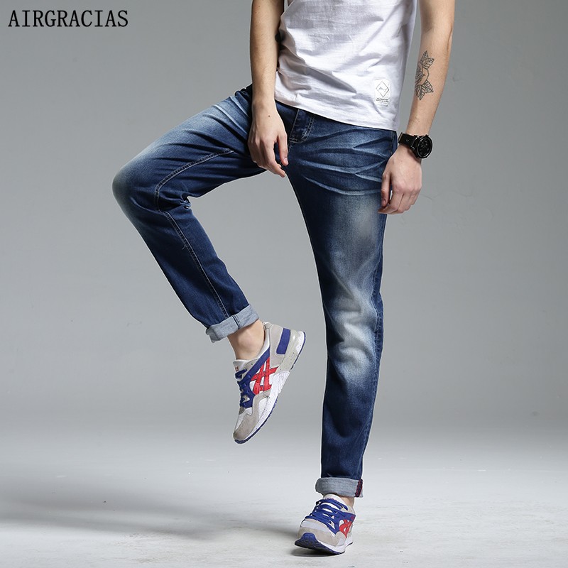 AIRGRACIAS High Quality Jeans Men Straight 95% Denim Cotton Casual Men Long Pants Trousers Brand Zipper Fly Jean Plus Size 28-38