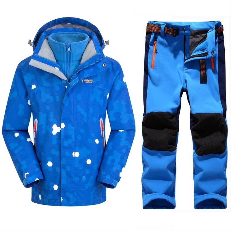 Winter Warm Waterproof Baby Boys Girls Climbing Clothing Sets Child Coat And Pant Children Outerwear Kids Sets 5-14 Years Old
